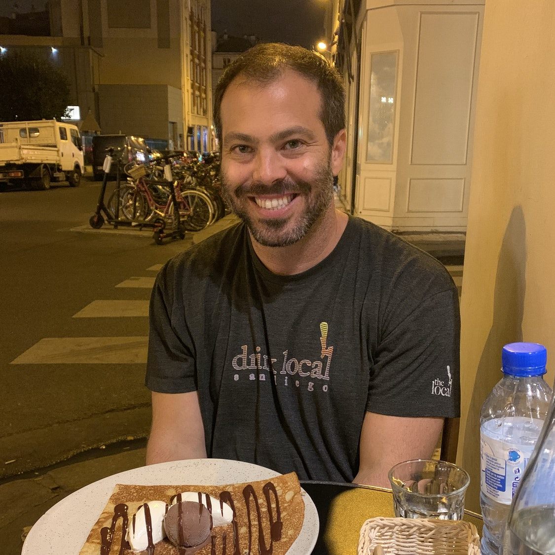 Aaron Hall at a restaurant